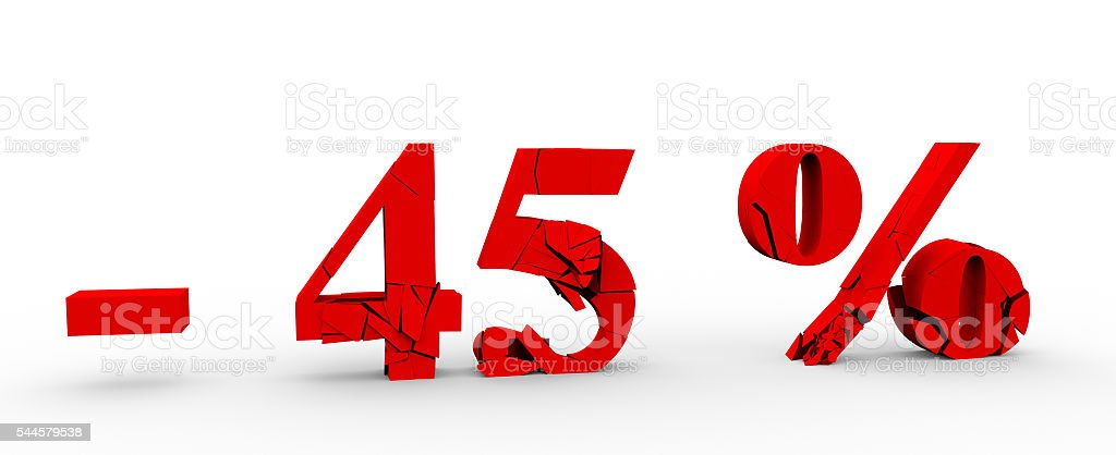 The 45 percent discount icon on white background 3D stock photo