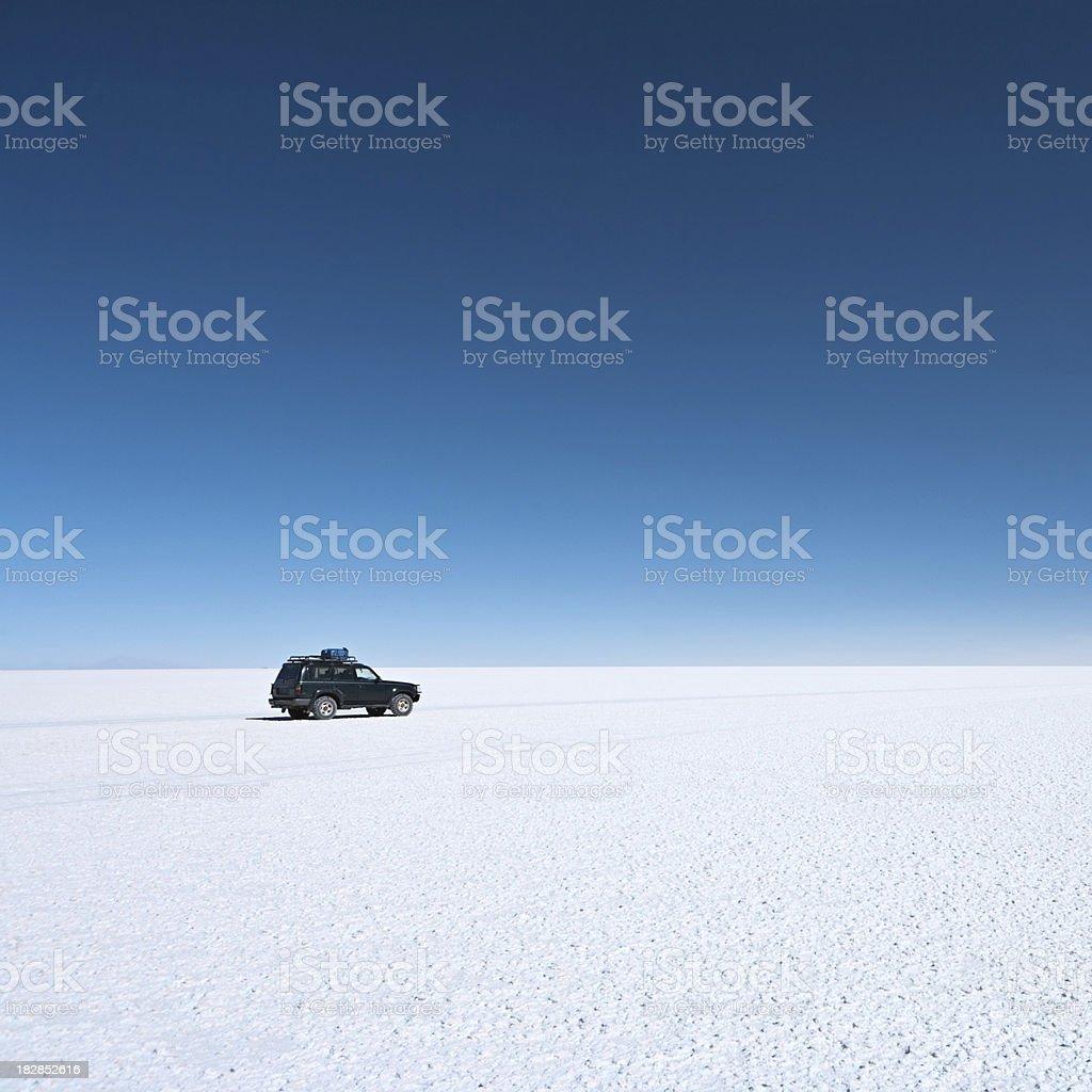 The 4WD on Salar de Uyuni, Altiplano Bolivia stock photo