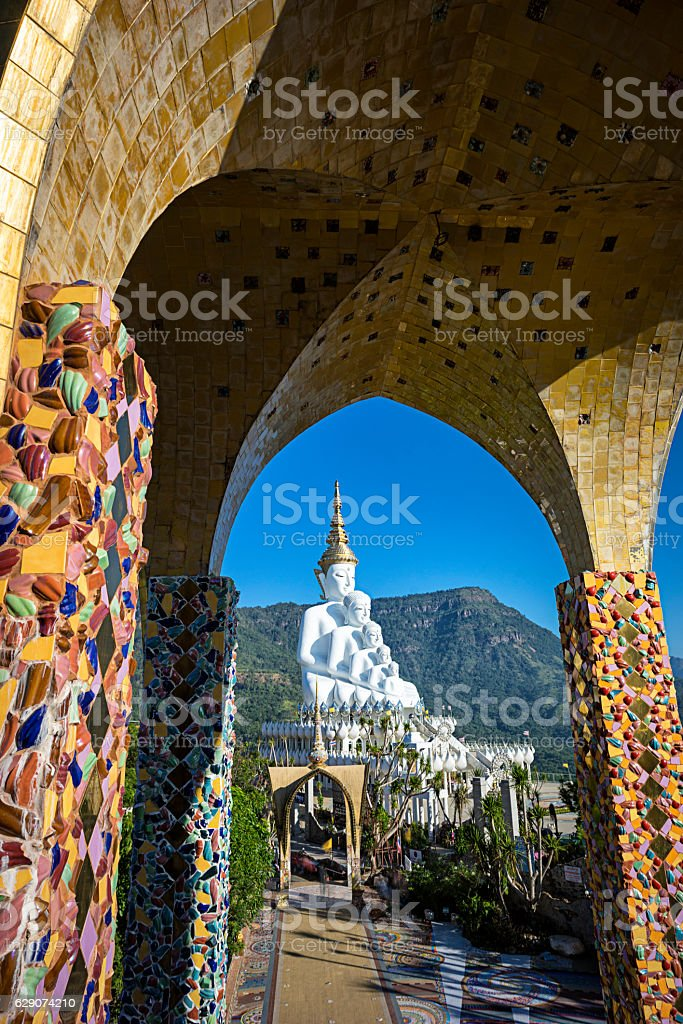The 5 Buddha statue on Wat Pha Sorn Kaew stock photo