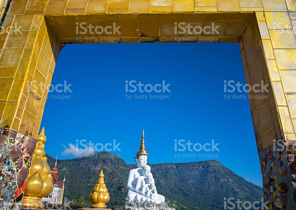 The 5 white Buddha statue stock photo