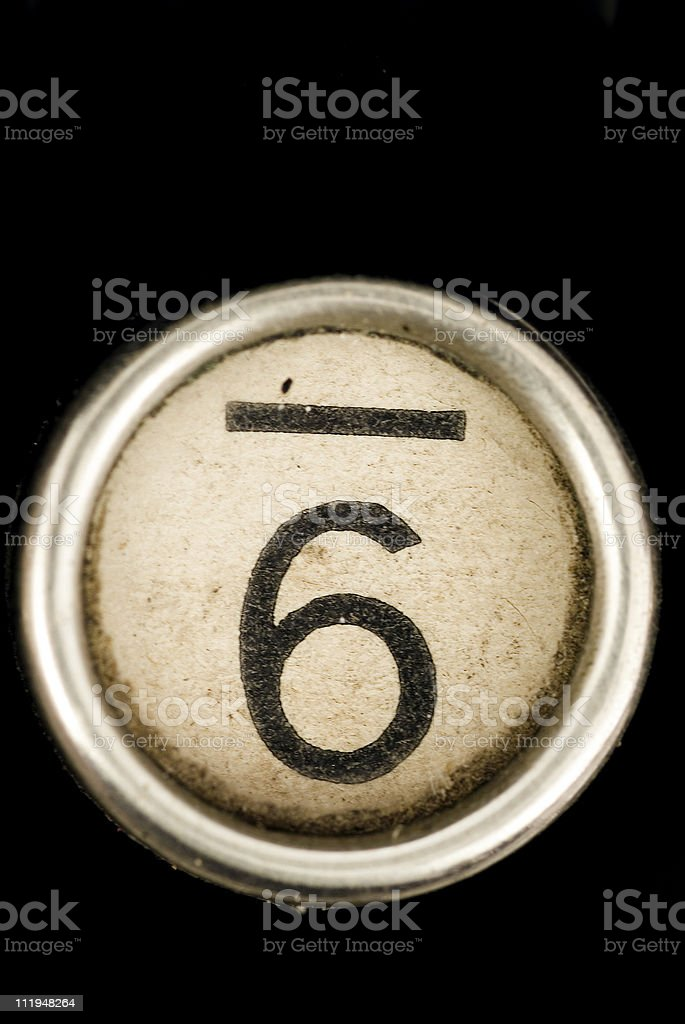 The 6 key from an antique typewriter royalty-free stock photo