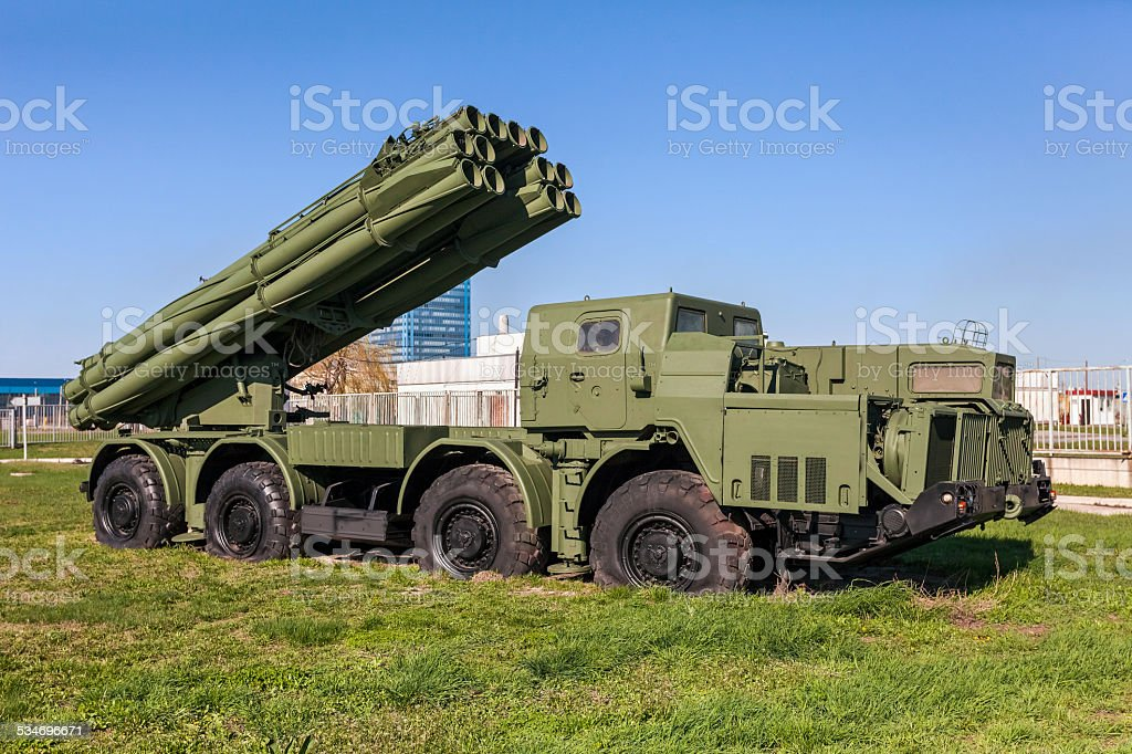The 9K58 Smerch 300mm Multiple Launch Rocket System (MLRS) stock photo