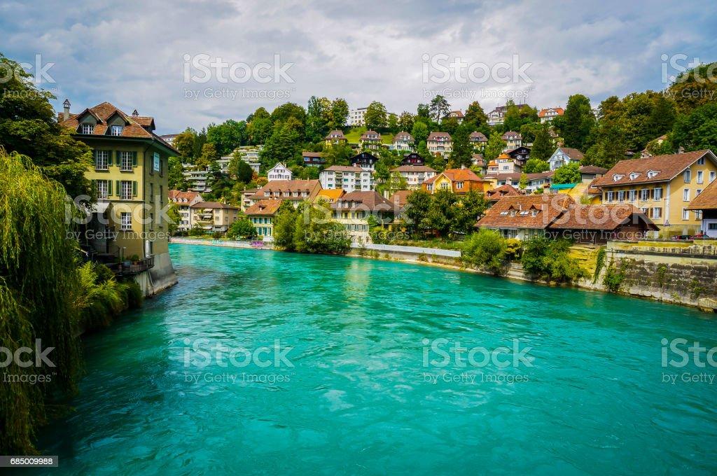 The Aare flow through the city of Bern, Switzerland. stock photo