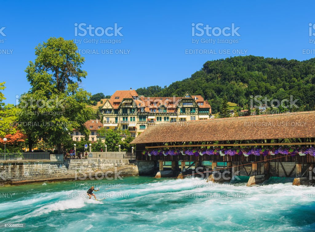 The Aare river in the city of Thun in summertime stock photo