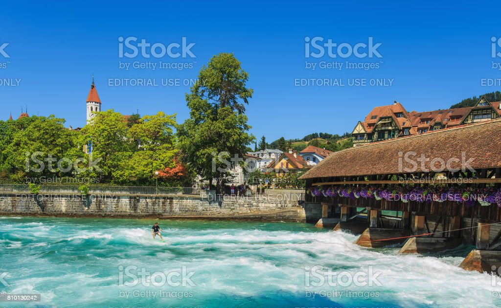 The Aare river in the city of Thun in Switzerland in summertime stock photo