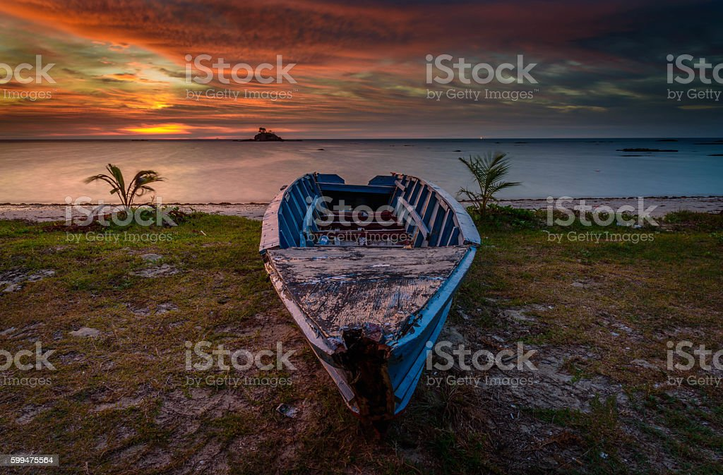 The Abandoned Fisherman Boat stock photo
