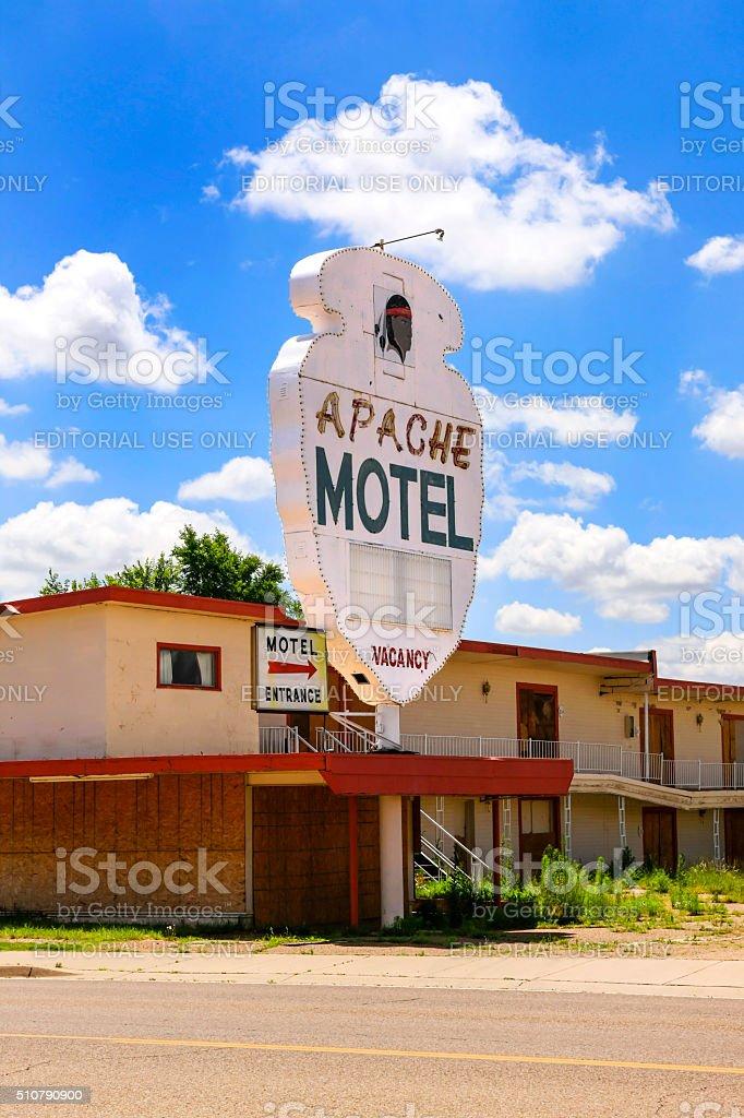 The abandoned Route-66 Apache Motel in Tucumcari, New Mexico stock photo