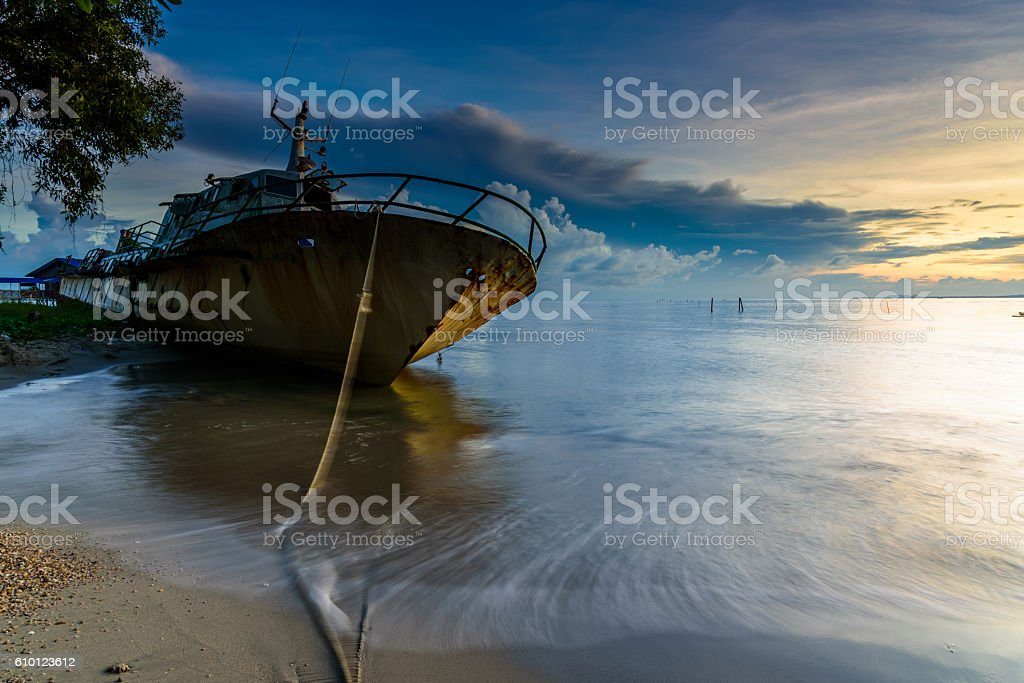 The abandoned ship stock photo