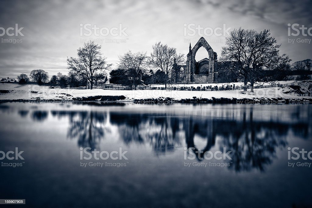 The Abbey in Winter royalty-free stock photo