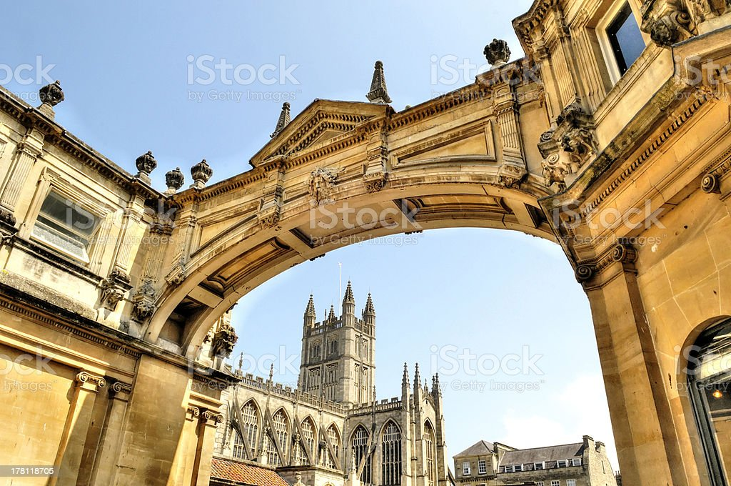 The Abbey of Bath Somerset, through Arch royalty-free stock photo