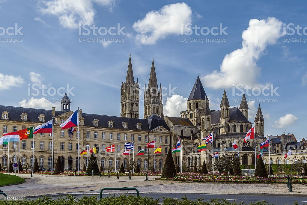 The Abbey of Saint-Etienne and town hall, Caen, France stock photo