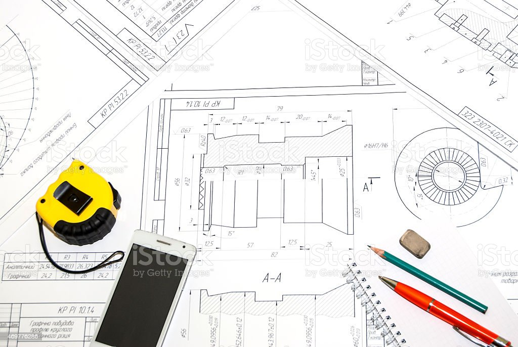 The abstract engineering drawing stock photo