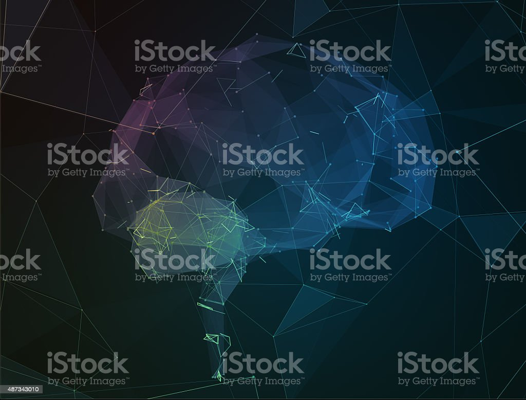 The abstract image of human brain in form lines communication vector art illustration