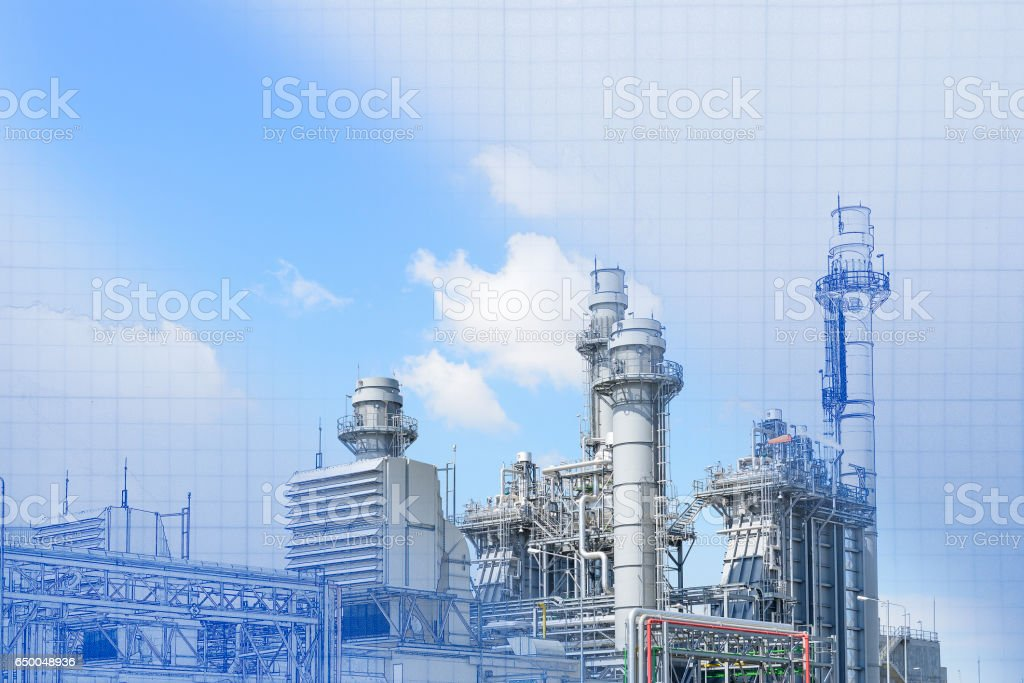 The abstract scene of real and blueprint of power plant  building construction stock photo