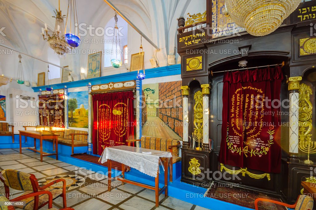 The Abuhav Synagogue, in the Jewish quarter, Safed (Tzfat) stock photo