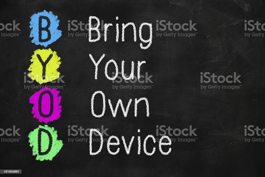 The acronym BYOD, standing for 'bring your own device' stock photo