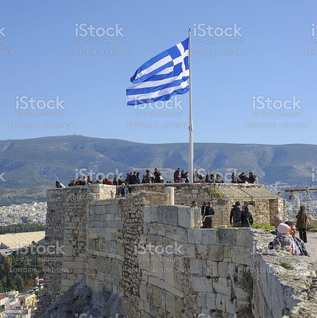 The Acropolis Flag royalty-free stock photo