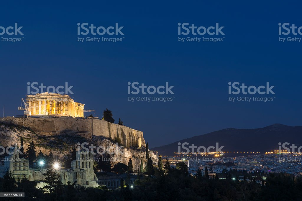 The Acropolis of Athens at dusk stock photo