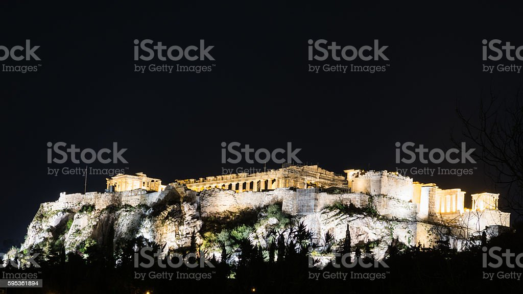 The Acropolis of Athens at night stock photo