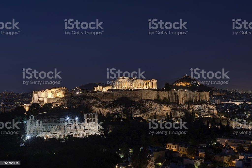 The Acropolis of Athens by Night stock photo