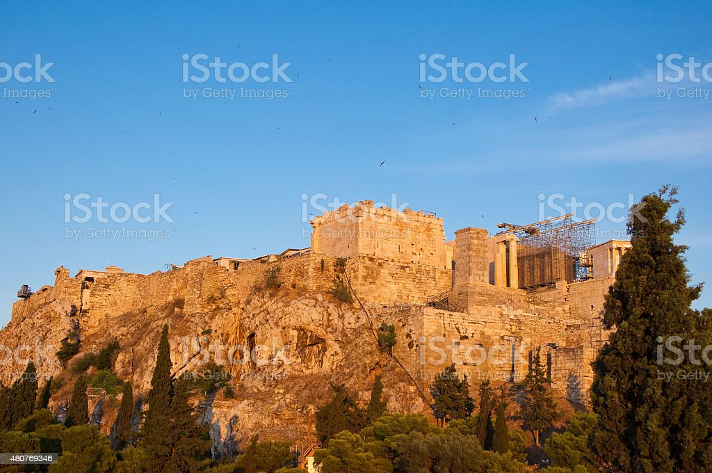 The Acropolis of Athens during the evening, Greece. stock photo
