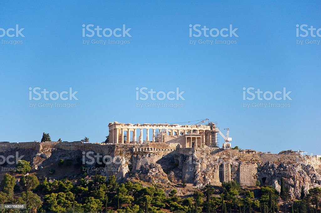 The Acropolis of Athens in the distance. Athens,Greece. stock photo