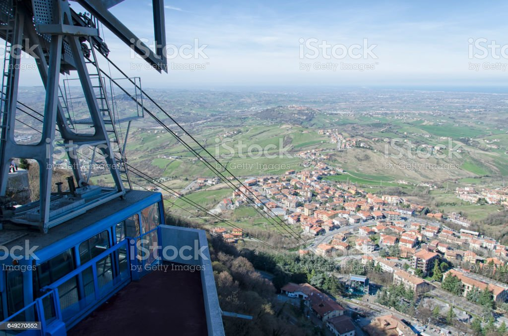 The aerial tramway of San Marino stock photo