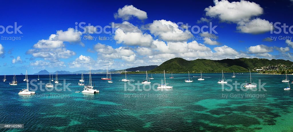 The aerial view of Le Marin, Martinique stock photo