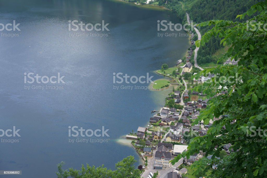 The aerial view of the romantic Hallstatt city in Austria during summer nearby the lake stock photo