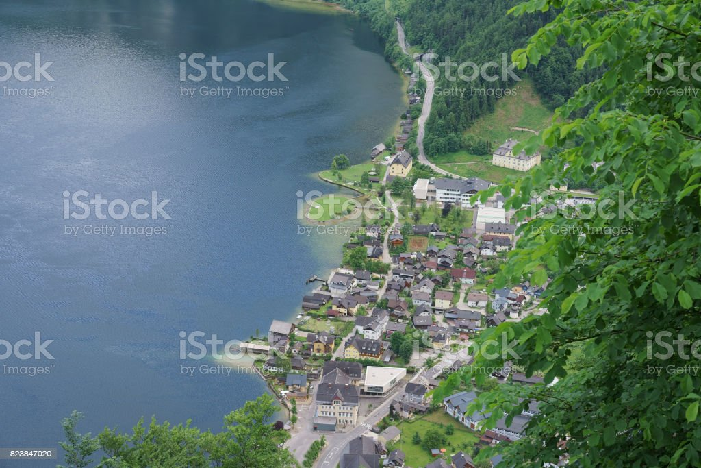 The aerial view of the romantic Hallstatt village in Austria during summer nearby the lake stock photo