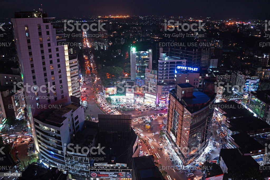 The aerial view on Dhaka city center, Gulshan stock photo