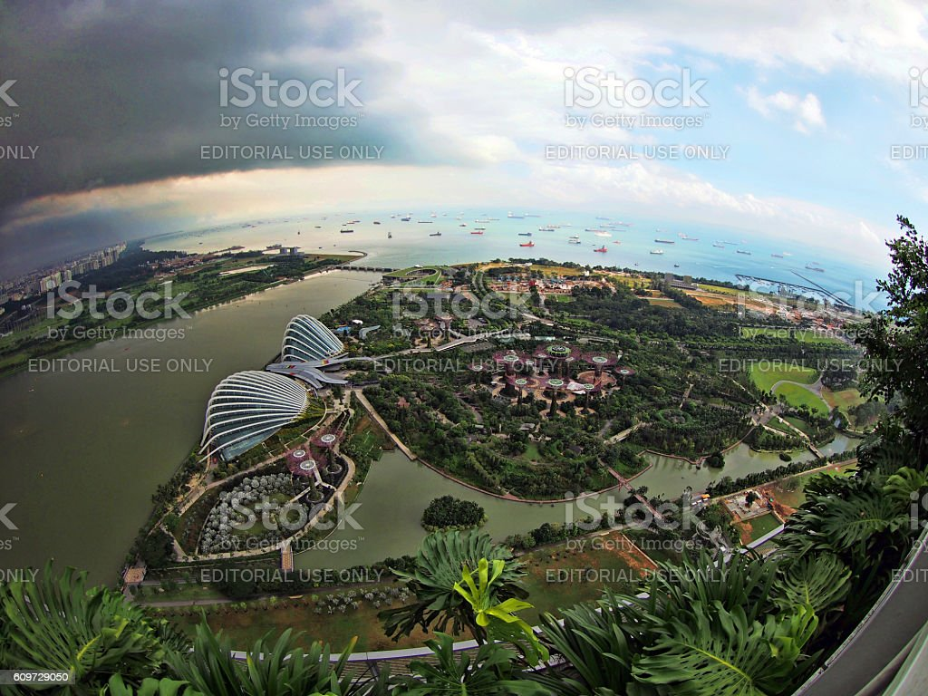The Aerials of Gardens by the Bay Complex - Singapore stock photo