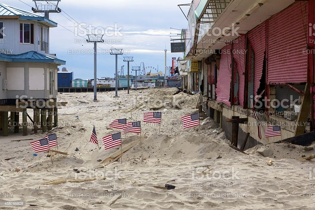 The aftermath of Hurricane Sandy stock photo