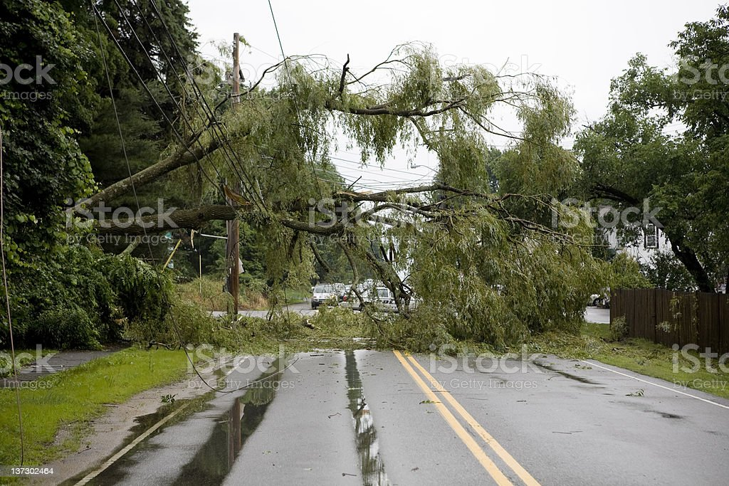 The aftermath of severe weather on a road stock photo