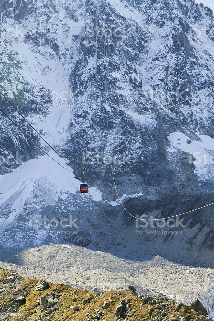 The Aiguille du Midi Cable car royalty-free stock photo