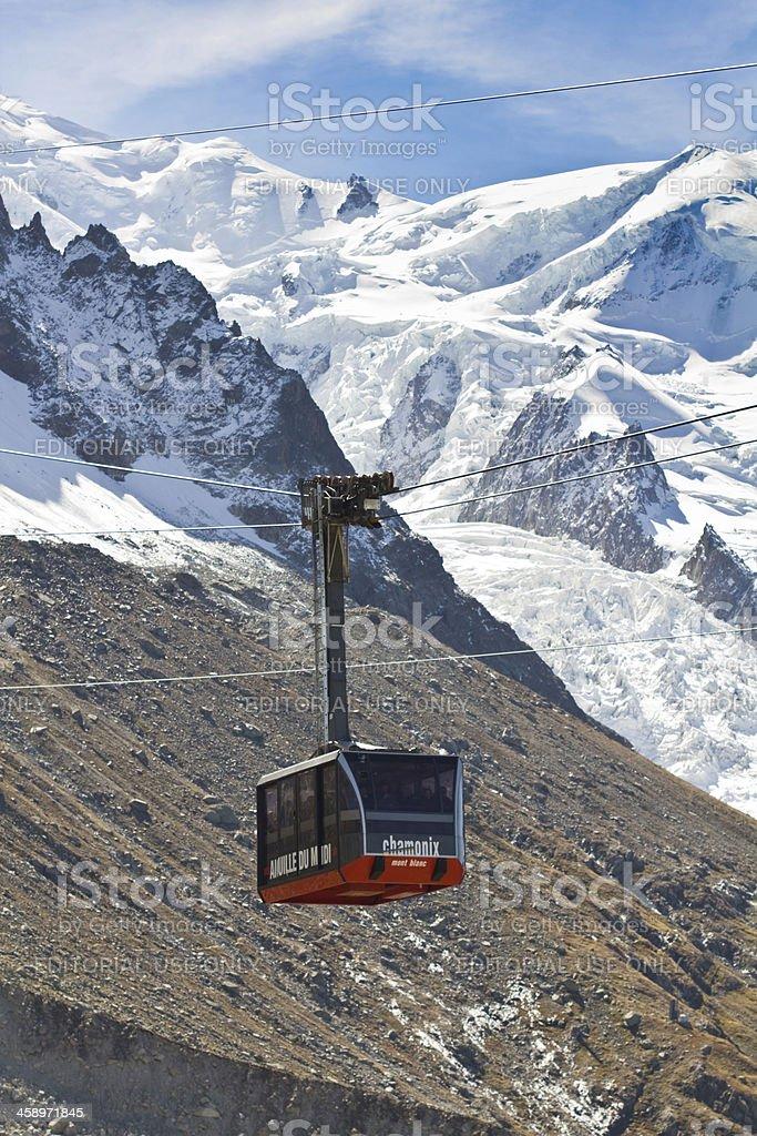 The Aiguille du Midi Cable car stock photo