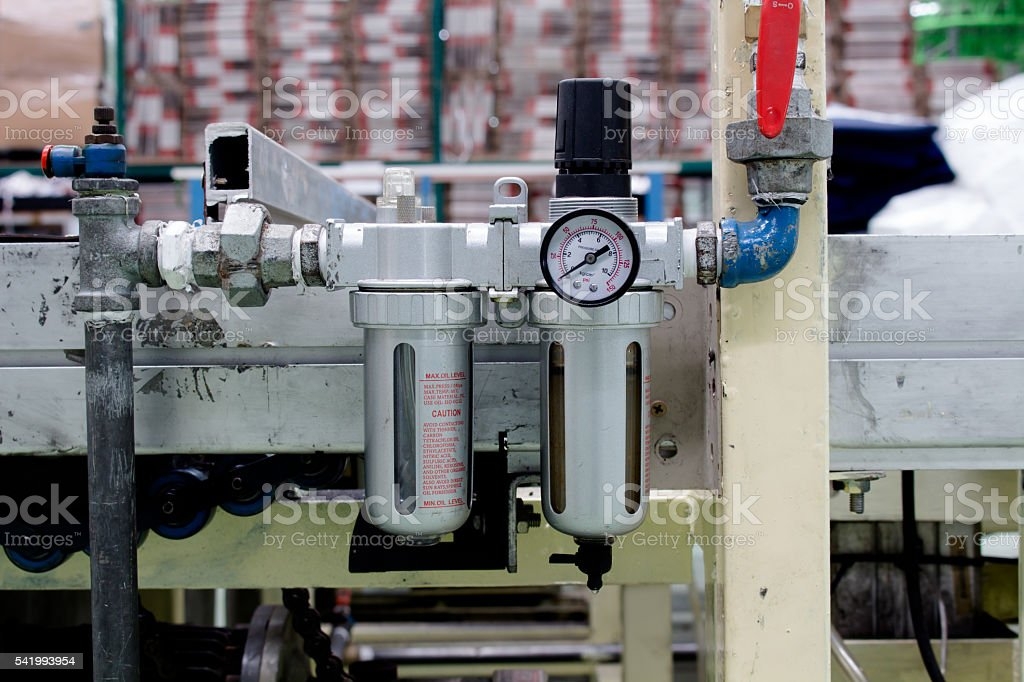 The air filter used in pneumatic system stock photo