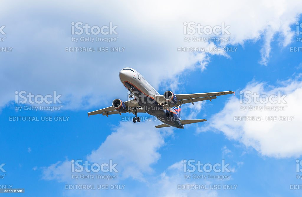 The aircraft Aeroflot Russian Airlines. stock photo