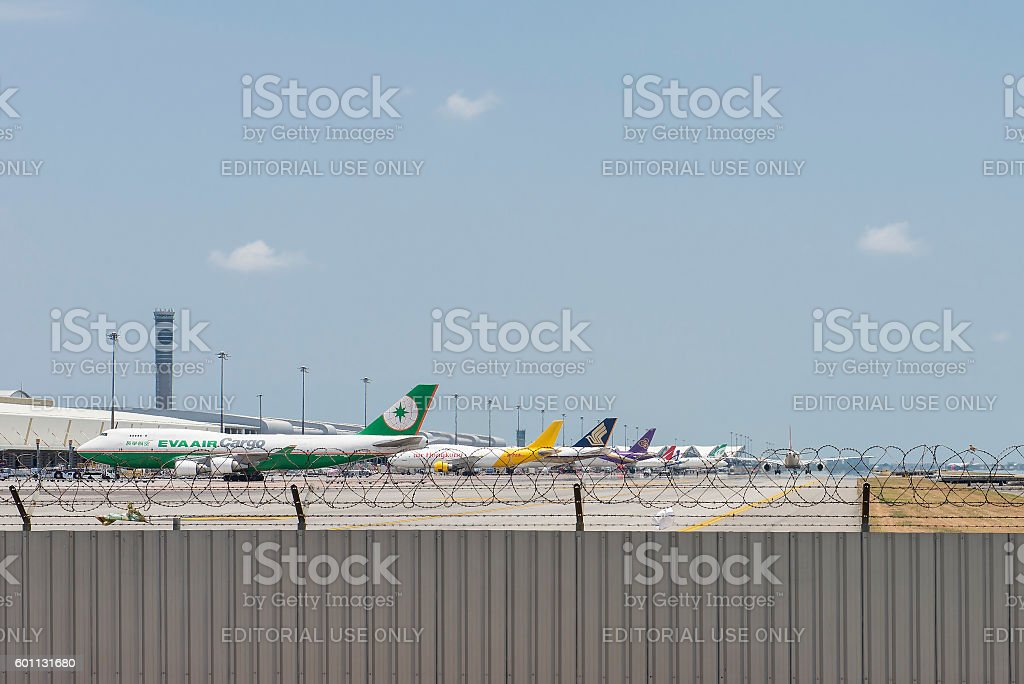 The Airplane Parking stock photo