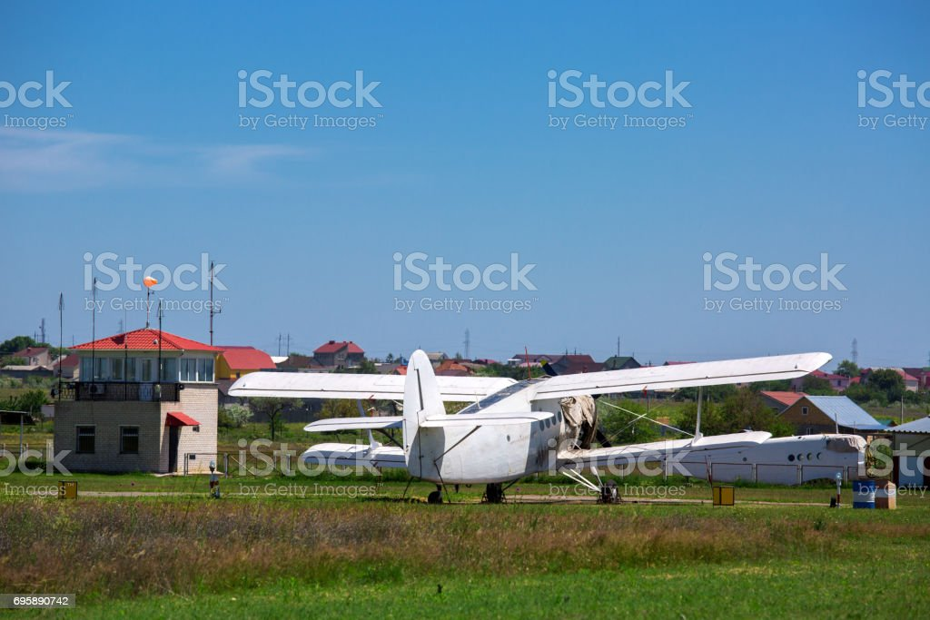 the airport with plane. stock photo