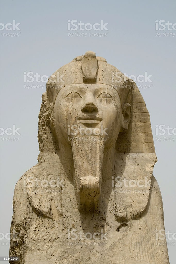 The Alabaster Sphinx  at Memphis near Cairo Egypt stock photo
