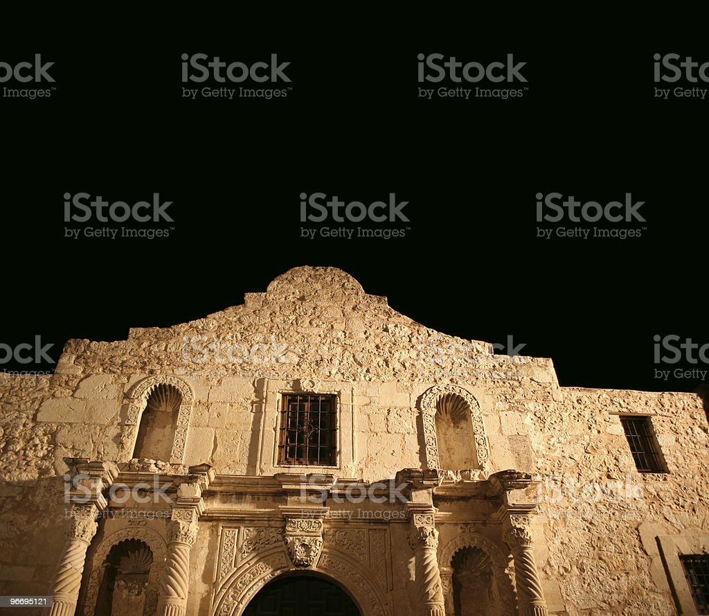 The Alamo in San Antonio, Texas at night stock photo