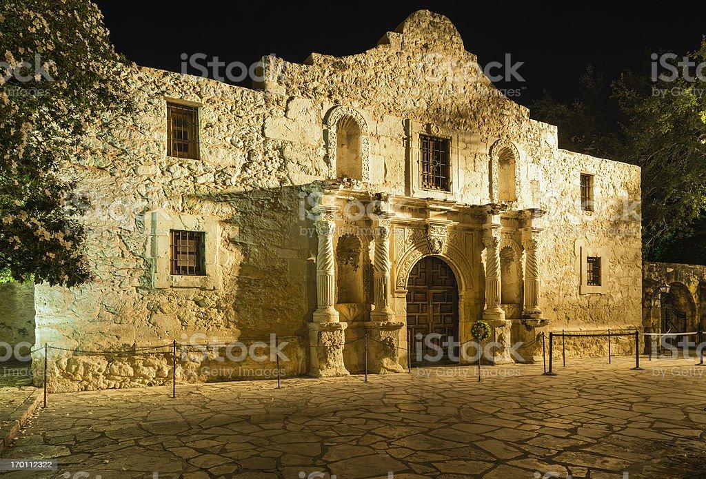 The Alamo  San Antonio Texas, in golden incandescent nighttime light royalty-free stock photo