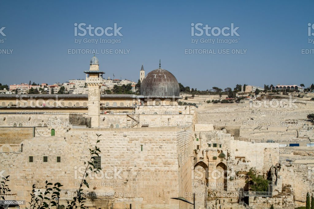 The Al-Aqsa Mosque in Old City of Jerusalem, Israel stock photo