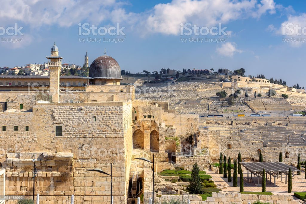 The Al-Aqsa Mosque on the Temple Mount, Jerusalem, Israel. stock photo