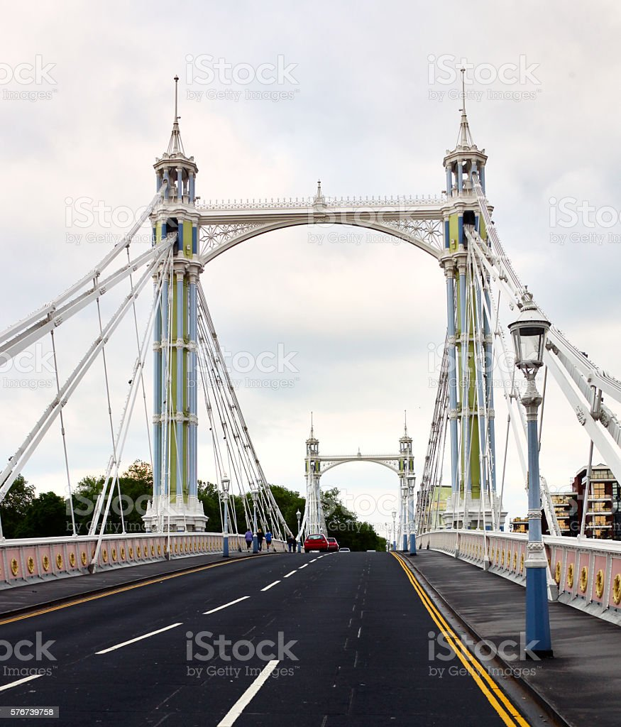 The Albert Bridge in London stock photo