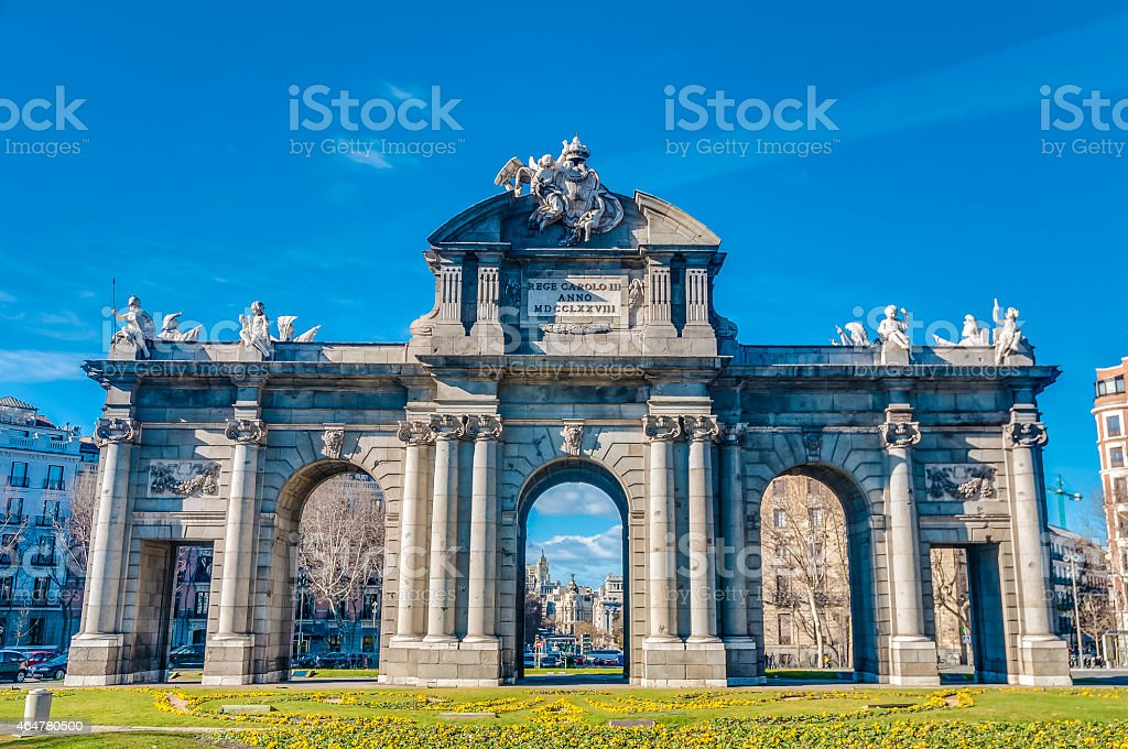 The Alcala Gate in Madrid, Spain. stock photo