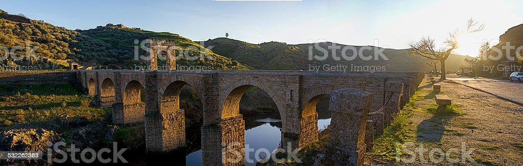 The Alcantara Bridge at Alcantara, Spain stock photo