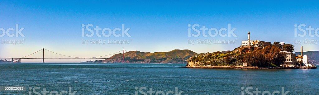 The Alcatraz and Golden Gate stock photo