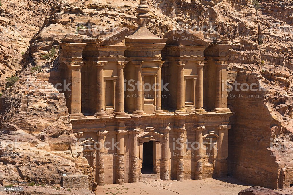 The al-Dayr tomb part of the Petra complex in Jordan stock photo